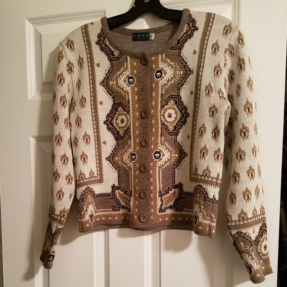 Ceny Sweaters - Brown & White  Cardigan Buttoned Sweater